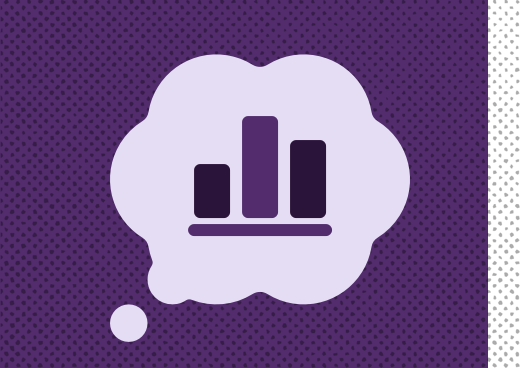 A bar chart within a thought bubble, on a purple background