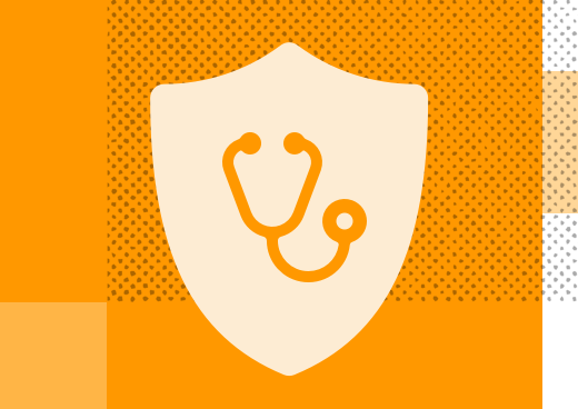 Stethoscope over a shield illustration, on an orange background