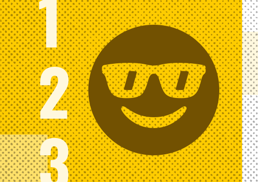 A smiling face with sunglasses illustration on a yellow background