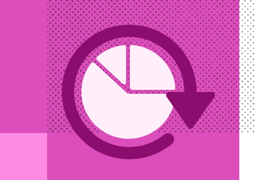 Pie chart illustration on a pink background