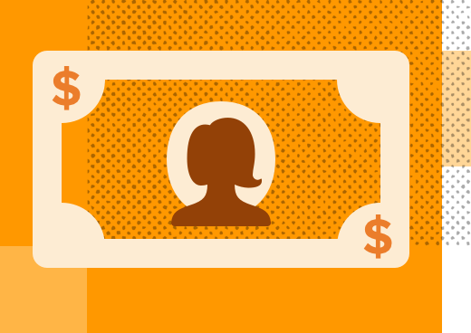 Dollar bill illustration with woman at the center, on an orange background.