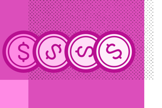 An illustration of four coins rolling horizontally on a pink background