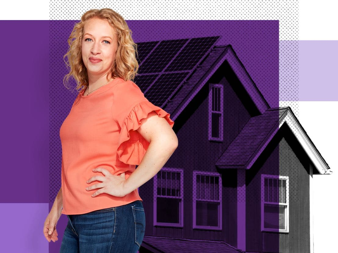 Kelly, an Affinity Plus member, in front of a home with solar panels.