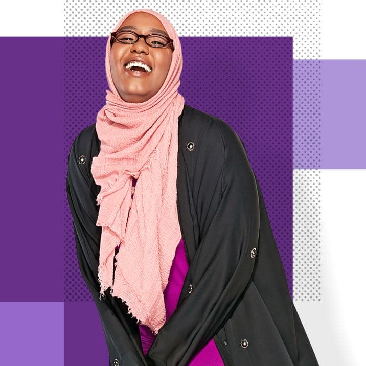 Asha, a Minnesota resident, on a purple background