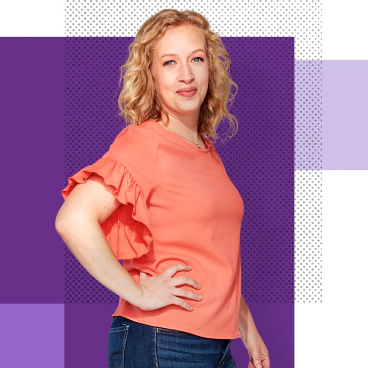 Kelly, an Affinity Plus member, on a purple background