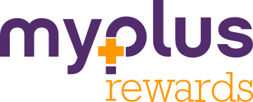 "Lowercase purple text reading ""MyPlus"" with a bright orange ""plus"" symbol inside the letter ""P."" Below that, lowercase orange text reading ""Rewards"""