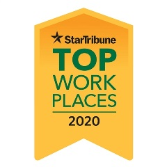 Yellow ribbon badge reading 'Star Tribune Top Workplaces 2020'