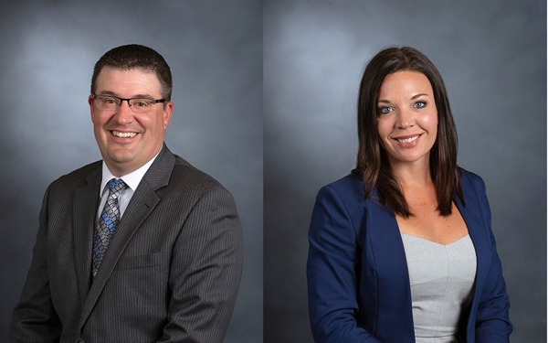 Two side-by-side headshots of a man and woman in suits