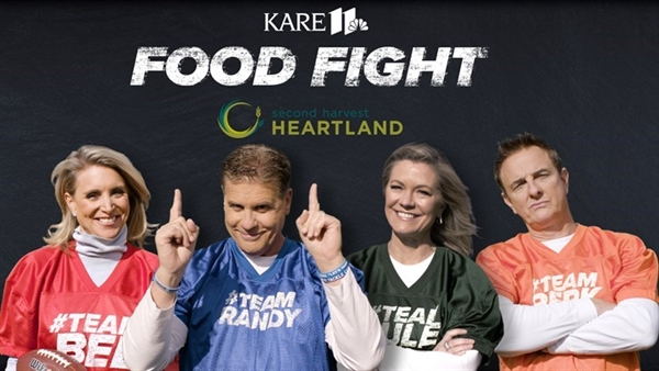 KARE 11 anchors for Food Fight with Second Harvest Heartland